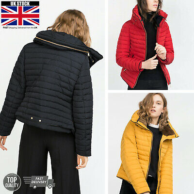 Womens Ladies Quilted Winter Bubble Coat Puffer Fur Thick Collar Hooded Jacket