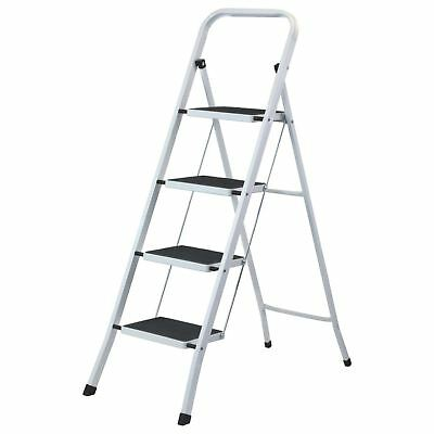 4 Step Ladder Heavy Duty Strong Folding Non Slip Metal Kitchen Stepladder New