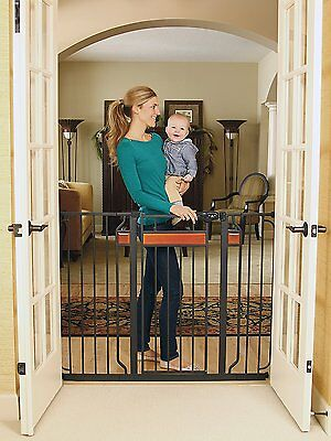 NEW Regalo Home Accents Extra Tall Walk Thru Baby Pet Child Safety Gate Black