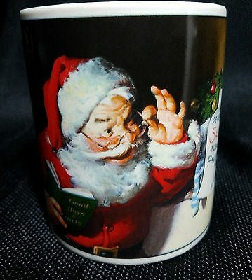 Coca Cola Brand Stoneware Mug Santa Reading Letter Coffee Mug