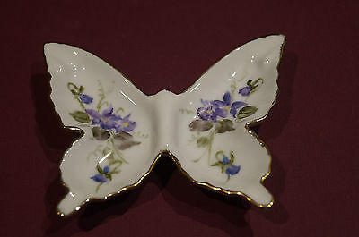 Vintage Butterfly China Pin Dish - Hand Painted & Signed 1987