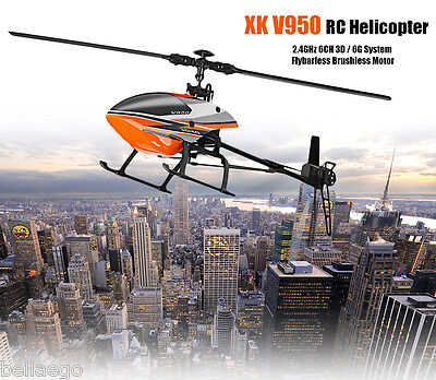 WLtoys V950 RC Helicopter Flybarless 2.4G 6CH 3D 6G System Brushless Helicopter