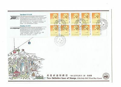 China Hong Kong 1987 QEII Definitive 50c Booklet Stamp CPA FDC First Day Cover