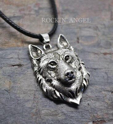 Antique Silver Plt 3D Wolf Face Pendant Necklace, Pagan Viking Norse Wildlife