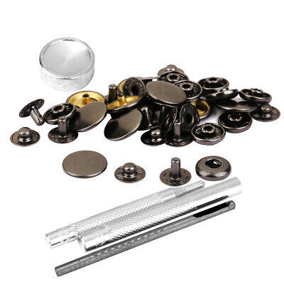 10 Sets Snap Fasteners Popper Press Stud Button Tool Kit for Leathercraft