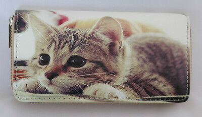 New Playful Tabby Kitten Cat Zipper Multi Compartment Ladies Wallet Clutch