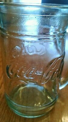 COCA COLA HEAVY GLASS MUG - Green & Embossed Lettering COKE
