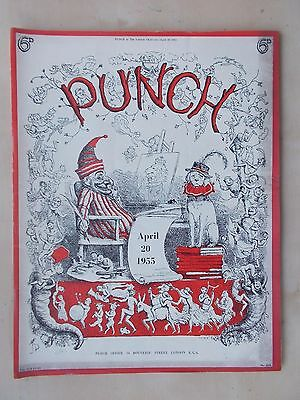 VINTAGE PUNCH MAGAZINE APRIL 20th 1955 HUMOUR - CARTOONS - ADVERTS  FREE POST