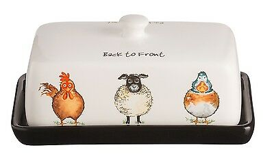 Price & Kensington Back To Front Stoneware Butter Dish With Lid Kitchen Storage