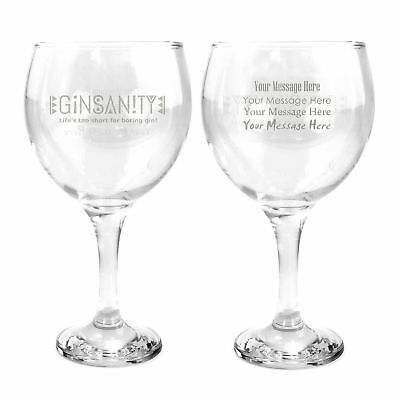 Ginsanity Personalised / Engraved Classic 22 oz Gin Balloon Glass Celebration