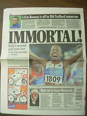 DAILY MAIL AUGUST 29th 2004 KELLY HOLMES WINS TWO OLYMPIC ATHLETIC GOLDS