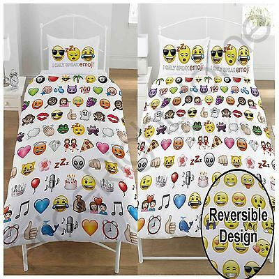 Emoji Multi Duvet Cover Set Reversible Bedding Smiley Faces - Single & Double
