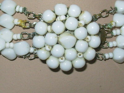 Vintage 5 Strand White Milk Glass Bead Necklace With Slide-In Clasp