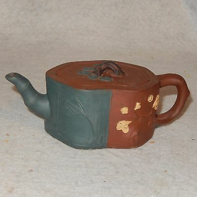 Vintage Signed Chinese Red YIXING ZISHA Clay Applied Decoration Teapot Small