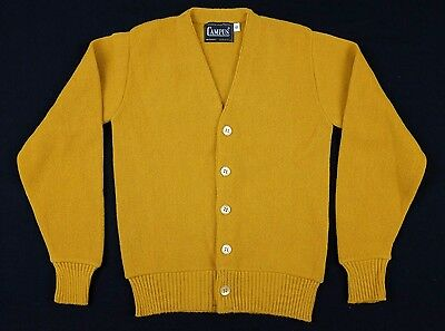 Vtg 1960s Campus Kids Cardigan Sz 10 Medium mustard yellow acrilan acrylic