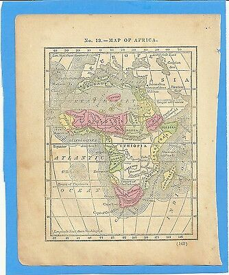1849 Original Colored Antique Map Of Africa From Mitchells Geography Book
