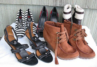 Lot 5 Pair Women's Ladies Shoes size 7 Heels, Boots, Sandals, Gently Used