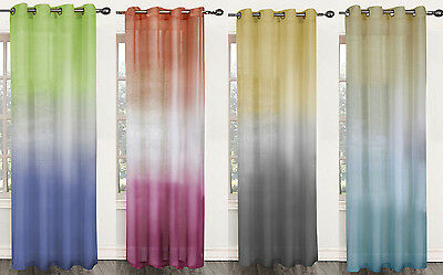 Single Window Curtain Panel Sheer Ombre Rainbow Decorative 52W x 84L