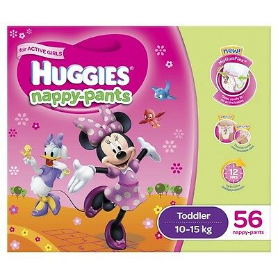Huggies Nappy Pants Toddler Girl 10-15kg Jumbo 56 NEW