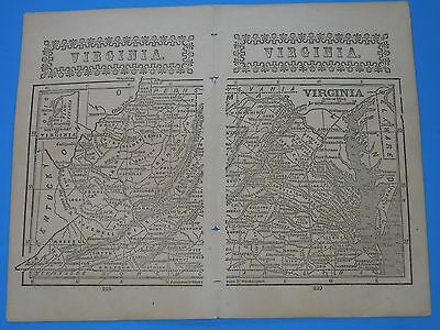 """Antique Map State Of  """"virginia""""   From 1851;  9"""" X 7"""". Original From Book"""