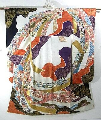 Gorgeous Vintage Woman's Kimono - Oxcarts and Ribbons Design!