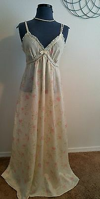 CHRISTIAN DIOR VINTAGE Floral Nylon Satin & Lace long Nightgown~Small