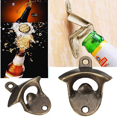 Vintage Home Bar Wall Mount Open Beer Wine Soda Glass Cap Bottle Opener Tool
