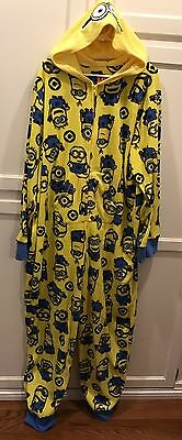 Despicable Me Minion Unisex Hooded One-Piece Pajamas Costume Adult size XXL (20)