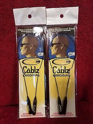 "Lot of (2) Cablz Sunglass Eyeglass Eyewear Retainer--14""--Black--Original"