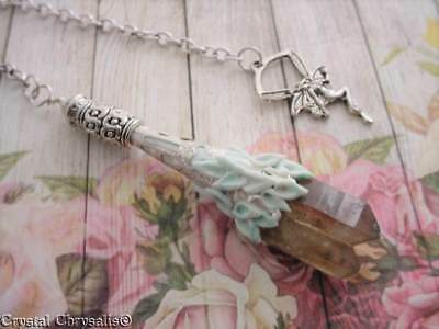 Silver Fae Old World Natural Clear Smoky Crystal Twin Point Pendulum