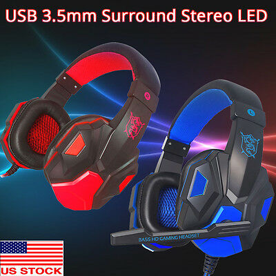 Surround Stereo Headset Gaming Headband Headphone USB 3.5mm LED w'Mic for PC