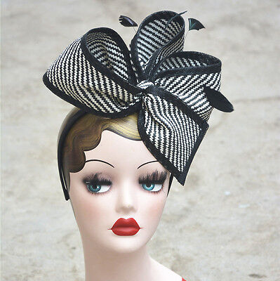 Retro Black mix White Stripes Womens Sinamay Floral Bow Fascinator Party  T163