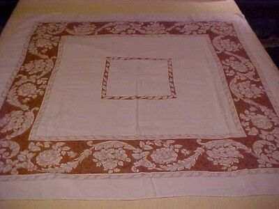 Vintage Printed Tablecloth W/ Grey White Flowers, Brown Border