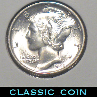 CHOICE 1945-S SILVER MERCURY DIME 10c UNCIRCULATED FROSTY FREE SHIPPING