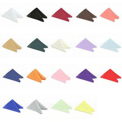 """100 pcs 17""""x17"""" or 20""""x20"""" Polyester Cloth Linen Dinner Napkins w or w/o Rings"""