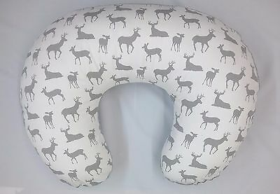 Boppy Cover, Nursing Pillow  Cover, Boppy Slip Cover, Deer Print, GREY MINKY
