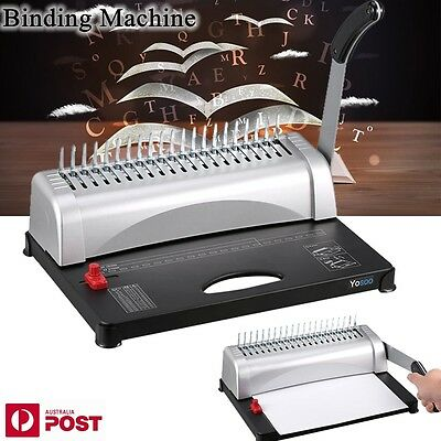 Pro Paper Office Comb Binding Machine 21 Hole A4 Plastic Coil Punch Binder BLACK