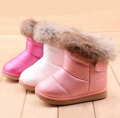 2018 Winter Girl Kids Toddler Rabbit Fur Leather AntiSlip Shoes Warm Snow Boots