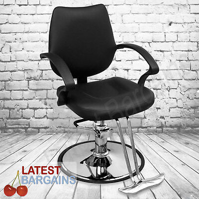 Hairdressing Barber Chair Salon Cutting Seat Artificial Leather Black Gas Lift