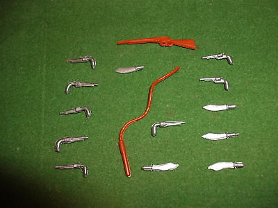 15 x TIMPO, 54mm scale, SWOPPET COWBOY weapons - rifle, pistols, knives and whip