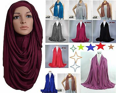 Top Quality ***JERSEY*** Plain Scarf Hijab Stretchy Sarong Wrap Shawl Big*jrysrf