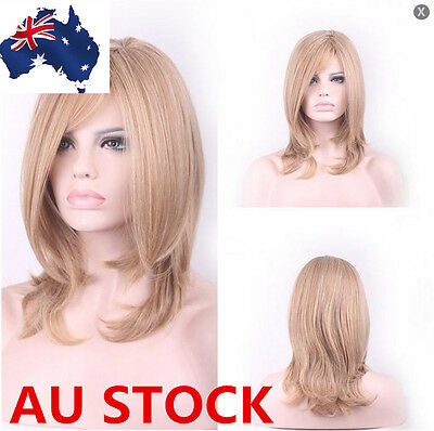 Women Blonde Lob Strands Wig Cosplay Party Straight Hair Cosplay Full Wigs