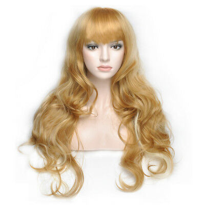 Women's Girls Middle Long Curly Wig Blonde Color Cosplay Party Carnival Hair Wig
