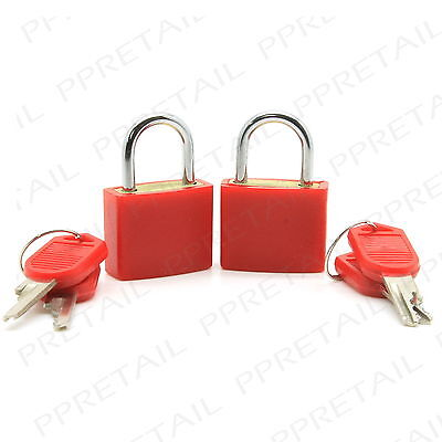2 x SMALL LUGGAGE PADLOCKS +COLOURED FOR EASY ID+ Travel/Suitcase/Carry On/Bag
