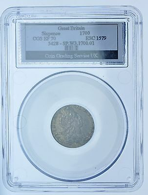 1700 Sixpence, Slabbed Cgs Ef-70, British Silver Coin From William Iii