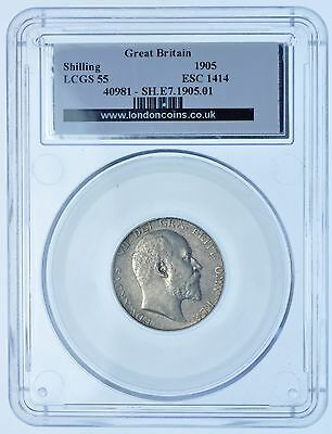 Very Rare 1905 Shilling, Slabbed Lcgs-55, British Silver Coin From Edward Vii