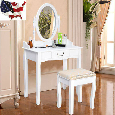 Vanity Table Jewelry Makeup Desk Bench Dresser Set W Stool 1 Drawer White