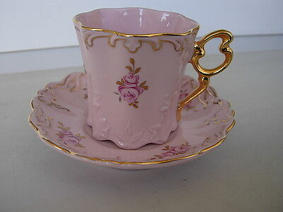 Carlsbad Pink Czech Porcelain Mocca Cup&saucer