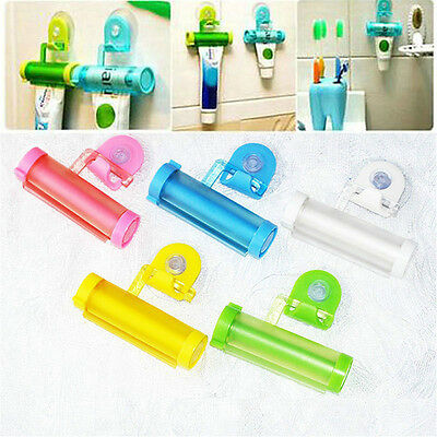 Plastic Tube Toothpaste Dispenser Rolling Squeezer Hook Holder Hanging Suction