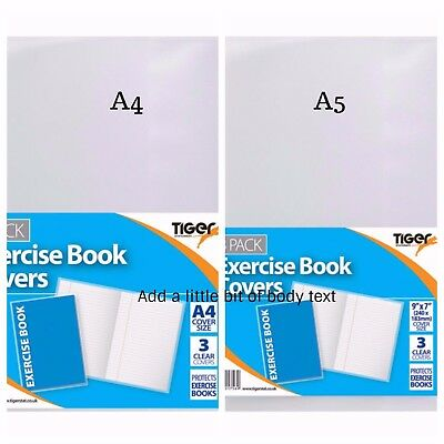 Exercise School Book Cover Clear Protection Sleeves School Notebook Pocket Tiger